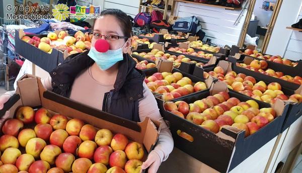 Bohócdoktor - adományosztás, vitamin, alma gyermekeknek